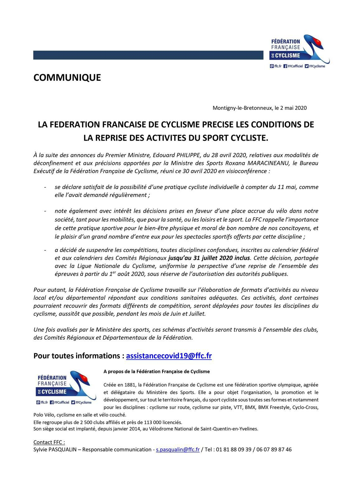Covid-19, bmx, annulations et infos FFC