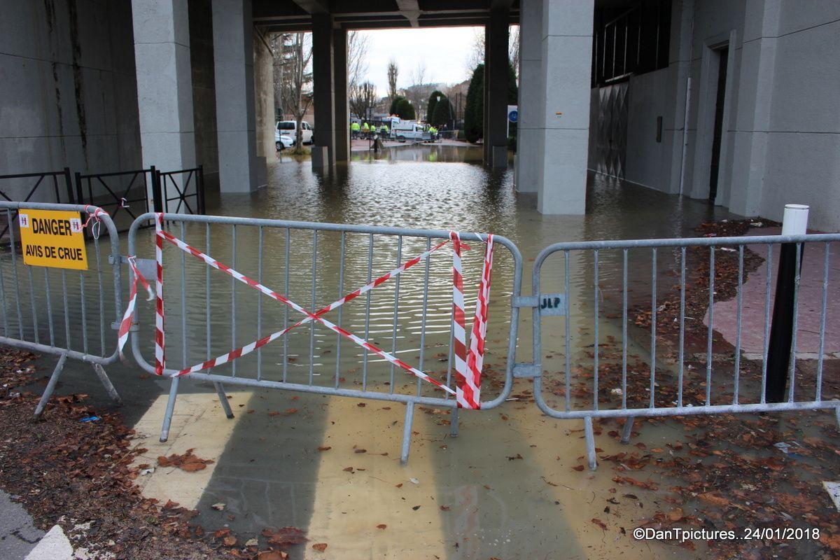 Joinville-le-Pont : L' ïle Fanac en partie submergée par les eaux boueuses de la Marne.