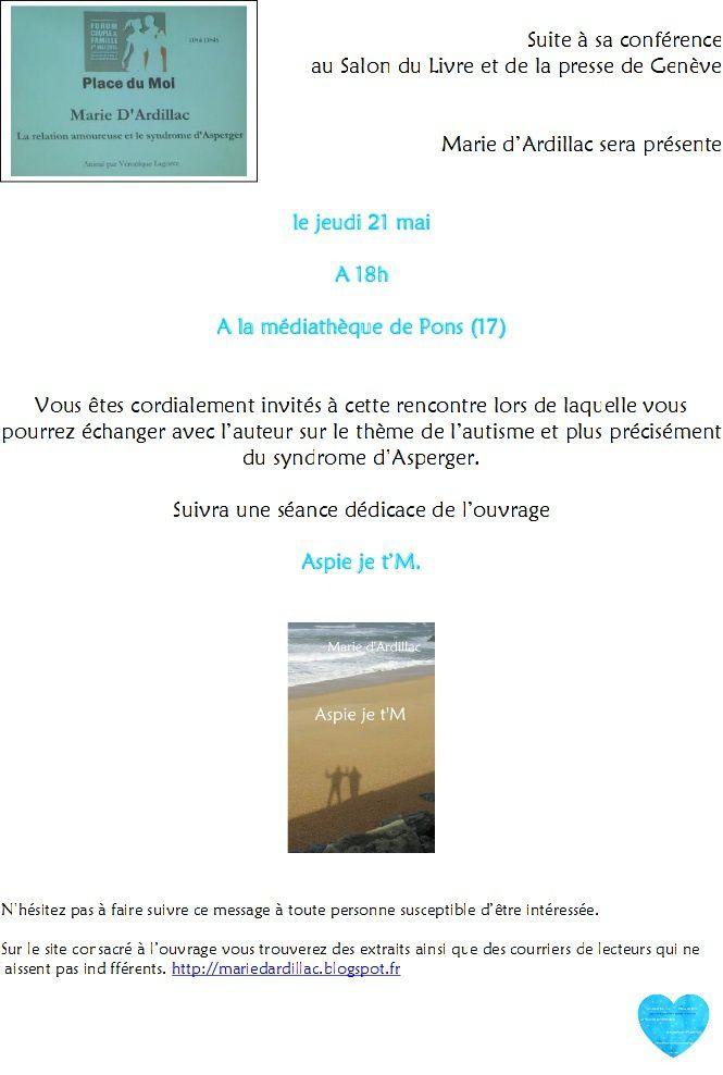 """Relais - Sortie du livre """"Aspie je t'M"""" de Marie Dardillac"""