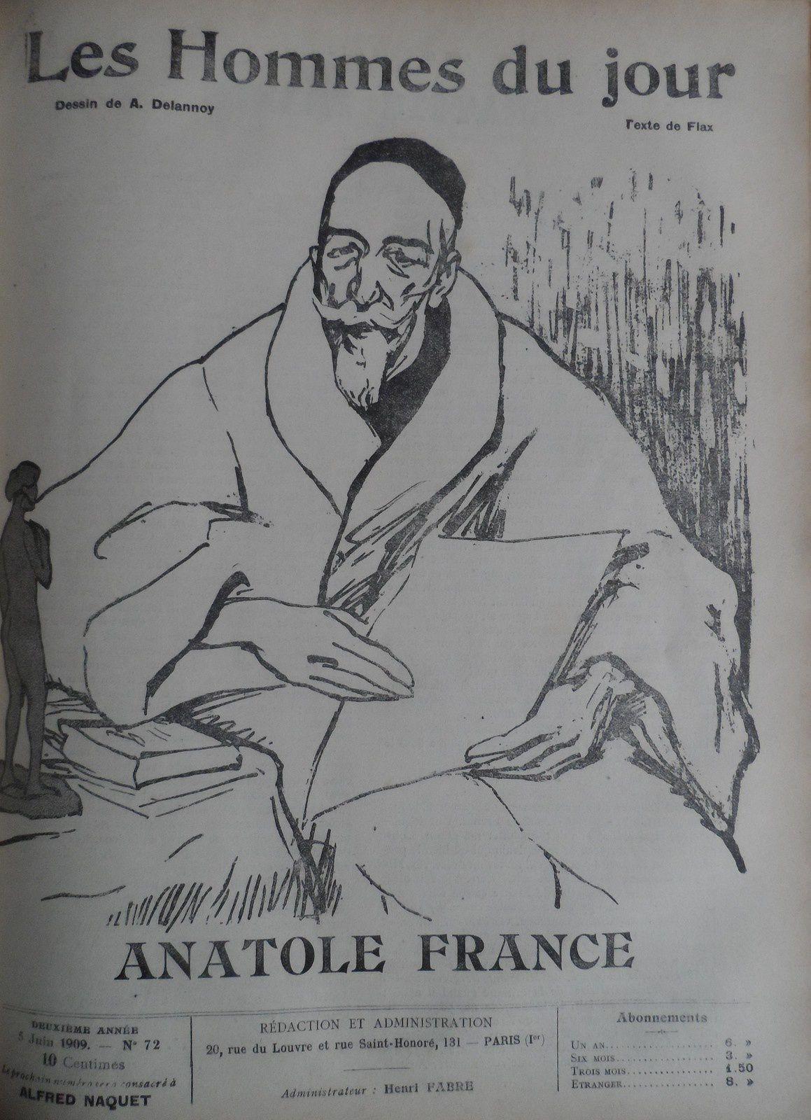 Anatole FRANCE portrait par DELANOY pour LES HOMMES DU JOUR Juin 1909