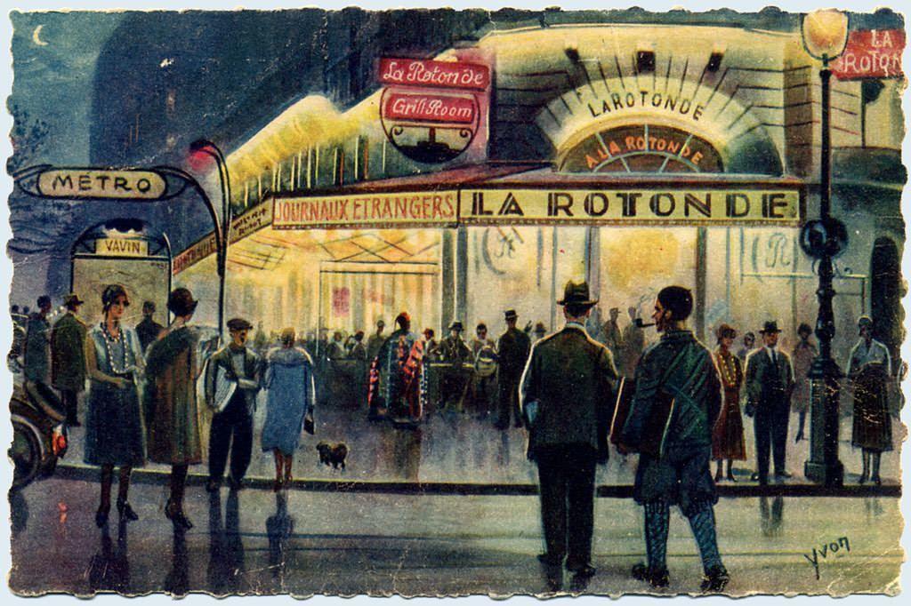 La Rotonde, dans le quartier des artistes de Montparnasse, à Paris 6ème, métro Vavin.