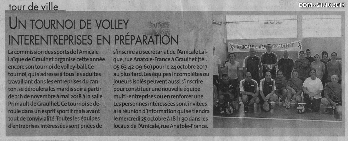 Dans la presse : Tournoi de Volley 2017-2018
