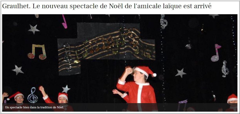 2013-12 : Le grand spectacle de Noël de l'ensemble des Maisons de l'enfance de l'amicale laïque et des centres de loisirs maternels aura lieu, cette année encore, au Forum. Pour cette soirée, l'amicale laïque est partenaire d'une association caritative de la ville de Graulhet.