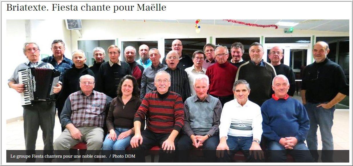 2013-03 : Le groupe Fiesta de l'Amicale laïque de Graulhet,tient à s'associer au grand élan de solidarité organisé par la municipalité, pour aider les parents de Maëlle, une petite fille polyhandicapée.