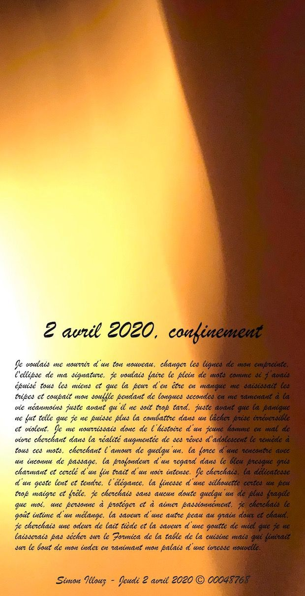 2 avril 2020, confinement...