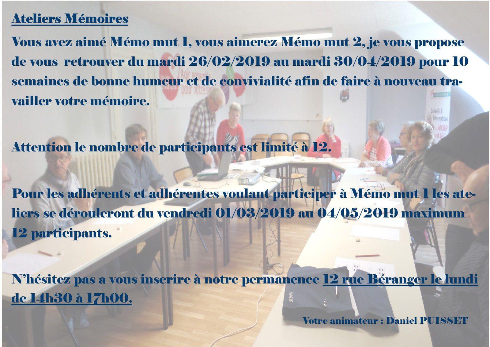Atelier mémoire 2019