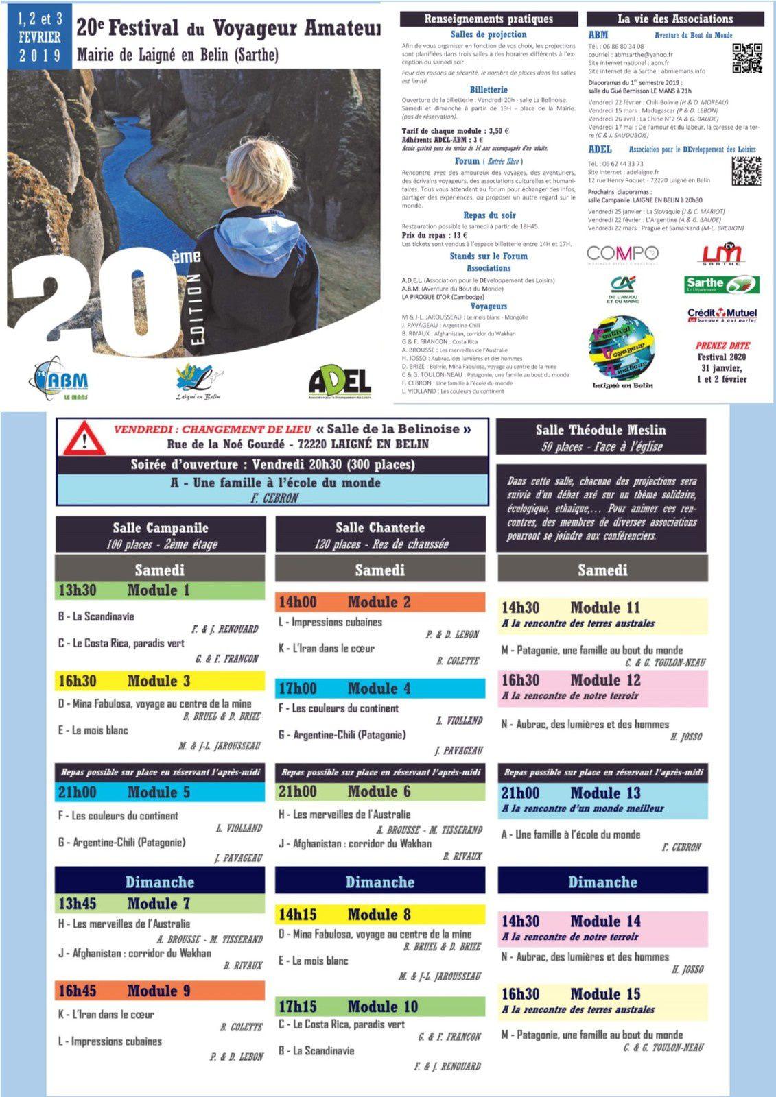 Festival du voyageur amateur 1 - 2 - 3 février Laigné en Belin