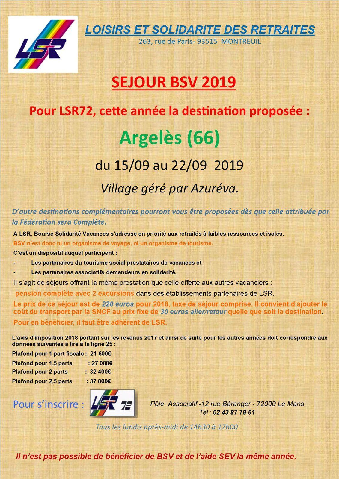 Séjours BSV  (Bourse Solidarité Voyages) 2019