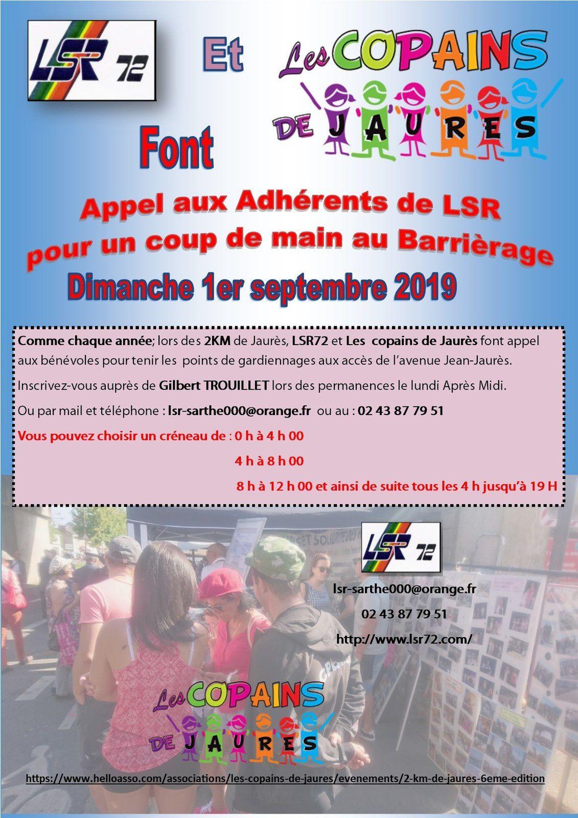 """Dimanche 1er septembre 2019, appel au volontariat pour le """"barrièrage """""""