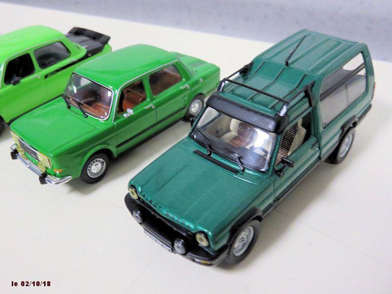 les voitures de couleur verte + les pilotes américains.