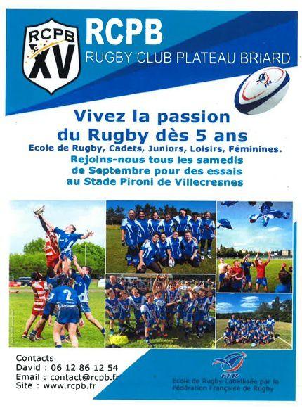 La rentrée au rugby club du Plateau Briard !!!