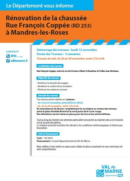 Attention Travaux à Mandres-les-Roses !!!