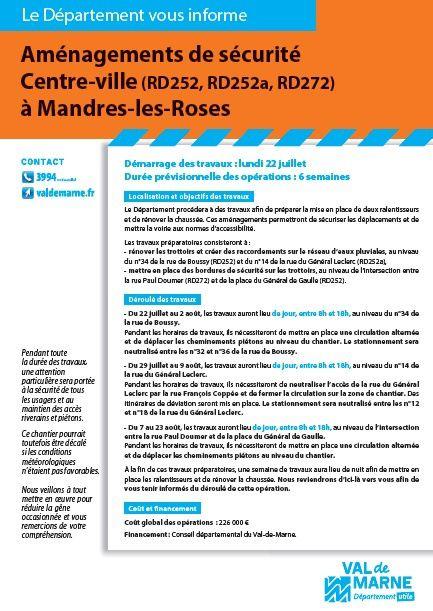 Travaux sur les voiries départementales à Mandres-les-roses !!!!