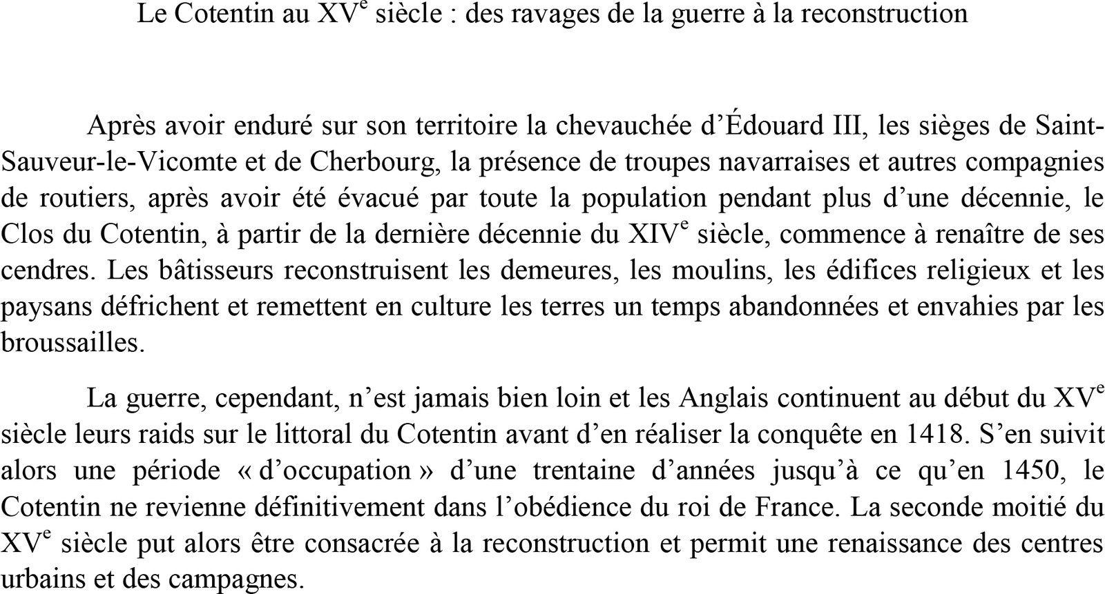 """""""La reconstruction du Cotentin au XVe siècle"""", Nicolas Abraham, SAHM, Saint-Lô, 18 février 2015"""