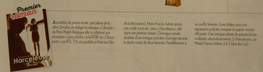 Marie-France Adnet et son roman, Harceleuse dans Paris-Match