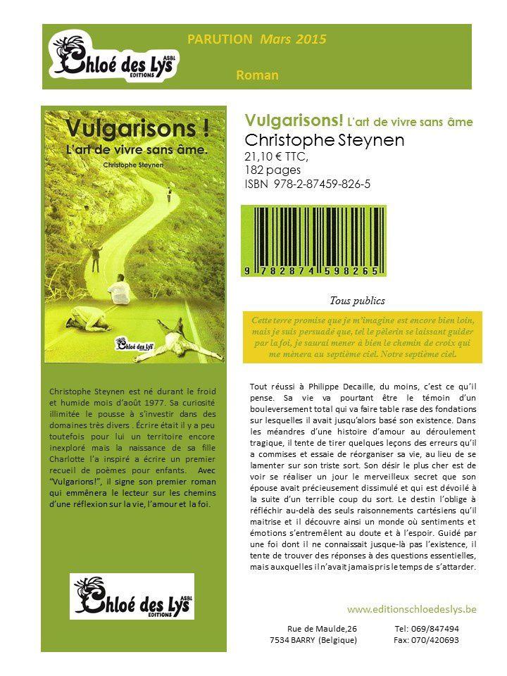 Fiche auteur de Vulgarisons, de Christophe Steynen