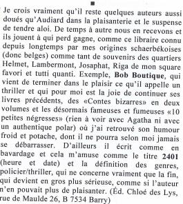 Bob Boutique et son thriller 2401 dans l'Inédit Nouveau