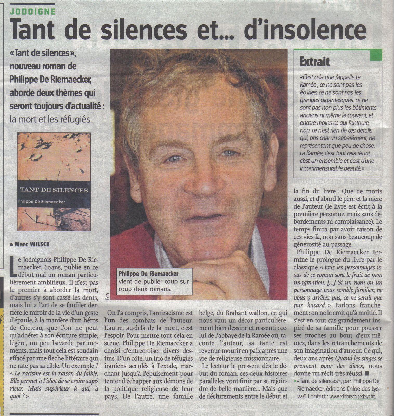 """Dans l'Avenir, un article pour """"Tant de silence"""", le roman de Philippe de Riemaecker, en attente de référencement !"""
