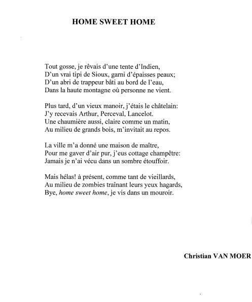 Home Sweet Home, le dernier poème de Christian Van Moer publié dans l'Inédit d'oct/nov 2016