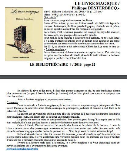 Le livre magique de Philippe Desterbecq est dans Le Bibliothécaire