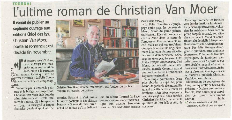 Christian Van Moer dans l'Avenir.net