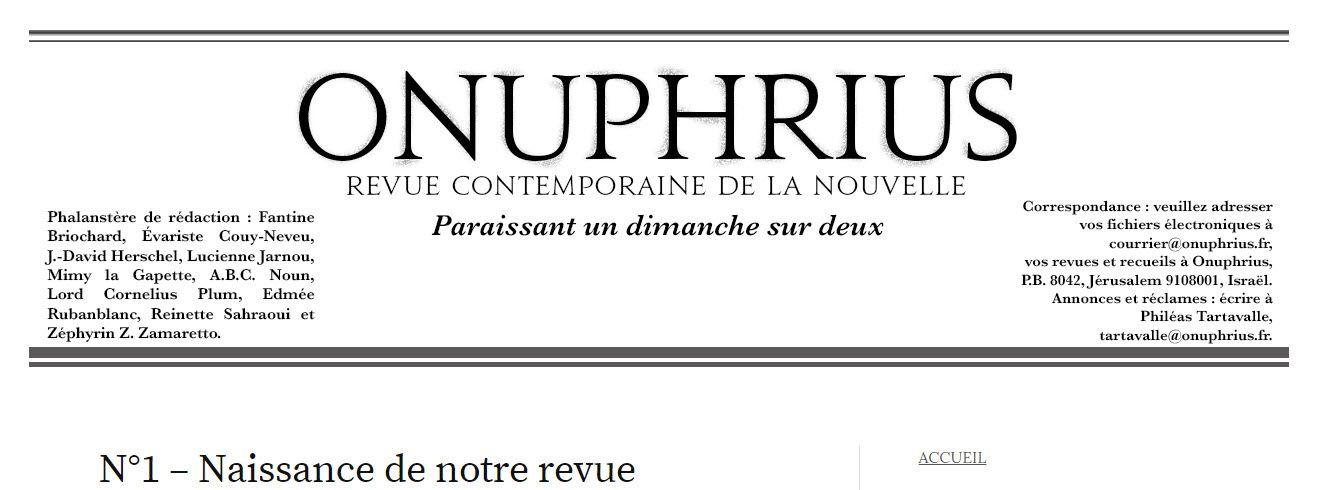 Un interview de Jean-François Foulon signé Jean-David Herschel pour la revue ONUPHRIUS