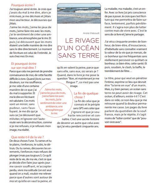 """Un article dans """"En marche"""" pour l'ouvrage d'André Elleboudt """"Un océan sans rivage"""""""