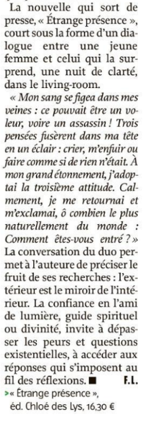 Un article pour le roman de Valérie Dereppe dans l'Avenir.net