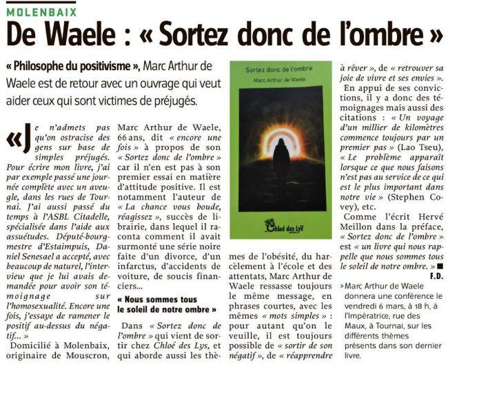 """Un article dans la presse pour l'ouvrage de Marc Arthur De Waele """"Sortez donc de l'ombre"""""""