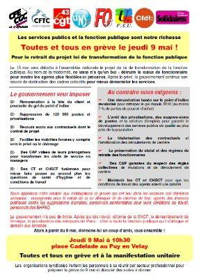 1760f3b5cc1 L ensemble des organisations syndicales de fonctionnaires appelle à la  grève le 9 mai face à la loi de transformation de la Fonction Publique en  discussion ...