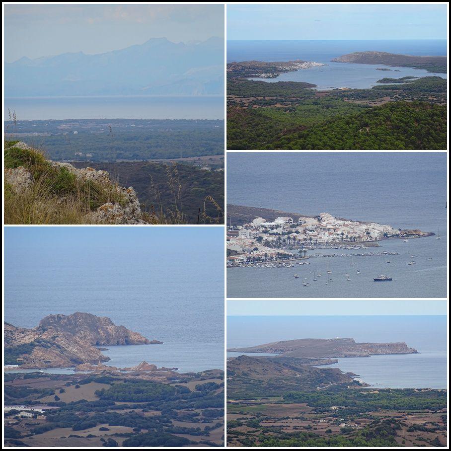 Photos quasi-panoramiques prises du haut du Mont Taurus, sommet de Minorque culminant à 350 mètres d'altitude et situé globalement au centre de l'île. Sur ces photos, on y voit les côtes de Majorque, le village de Fornells, et le cap Favaritx
