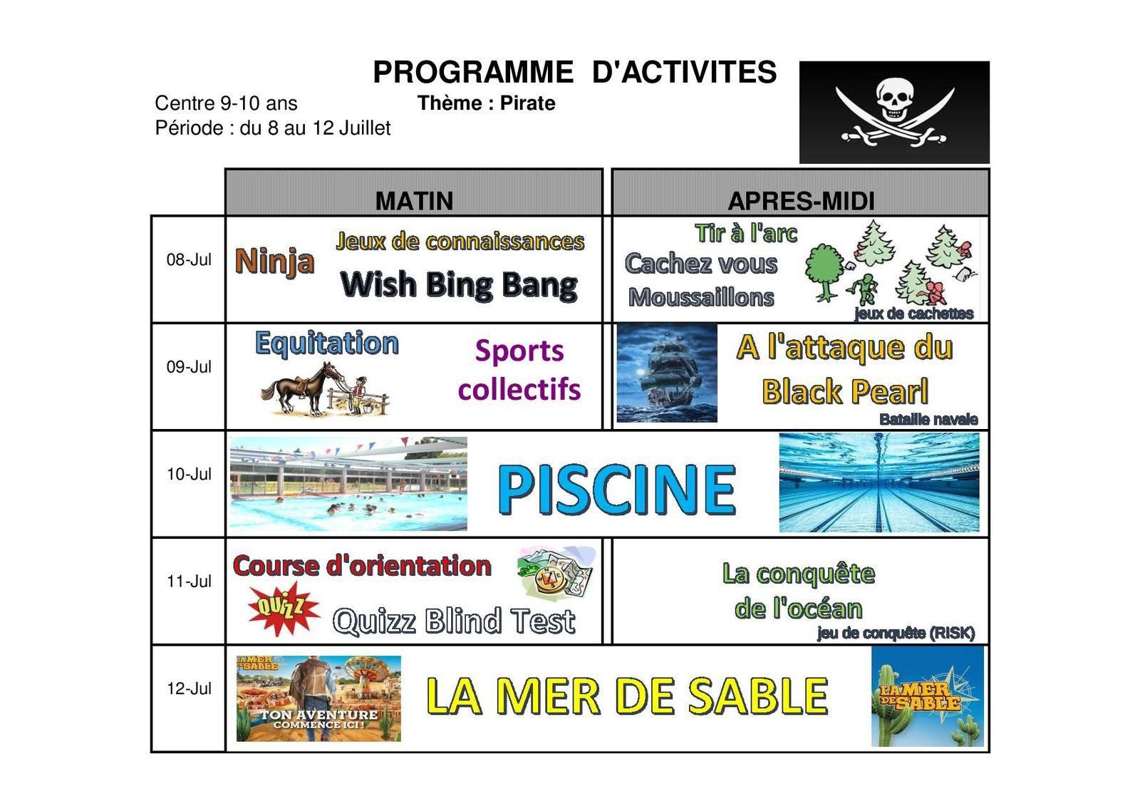 Programme des vacances de Juillet 6-10
