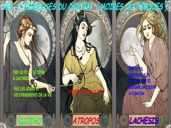 En grec, ce sont les Moires, en latin, ce sont les Parques ou Fata (c'est à dire les Destinées), nommées aussi les Tristes Filandières.