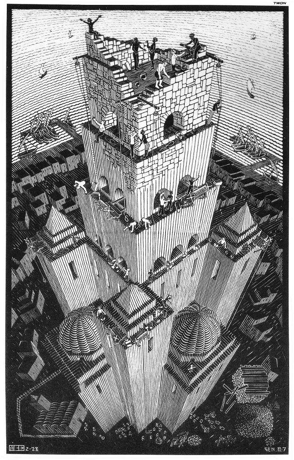Un M.C. Escher peu connu, Tour de Babel, 1928, xylogravure