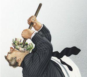 """illustrations-satiriques-gerhard-haderer… « Ensemble, levons-nous et faisons en sorte que """"le cœur invisible"""" des marchés puisse aider ceux que """"la main invisible"""" a laissé de côté »...les voici à l'oeuvre !"""