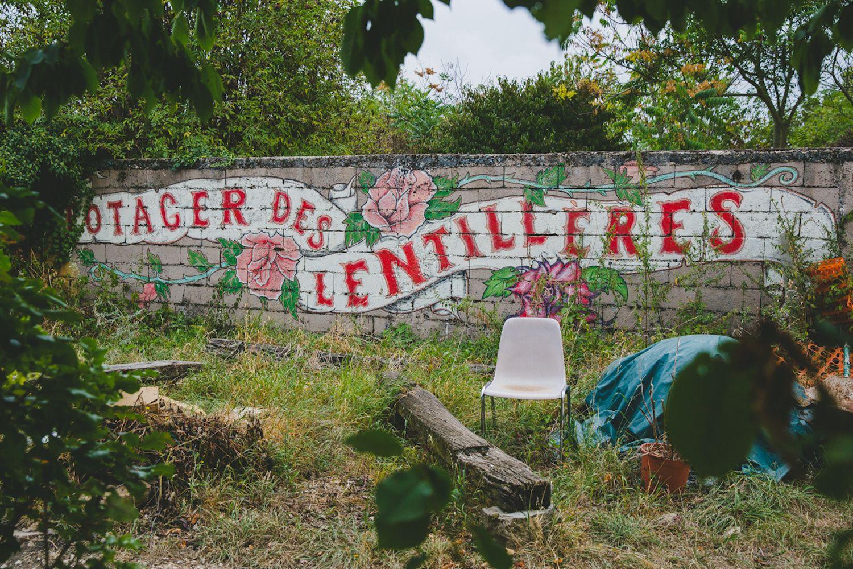 Le Pot'co'le', le Potager collectif des Lentillères, le premier espace défriché du site.