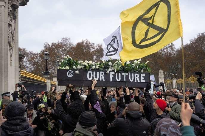 Manifestation du mouvement Extinction Rebellion, à Londres, devant Buckingham Palace, Niklas Hallen/AFP