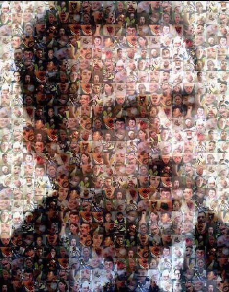 Portrait de Castaner, ministre de l'Intérieur, réalisé à partir de photos de victimes des actes des forces de l'ordre depuis le 17 novembre 2018.