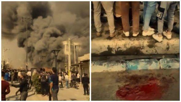 couverture de ricochet.cc…ici, Iran, Une banque en feu à Behbahan (à gauche). Attroupement à Shivet après qu'un homme a été fauché par une balle (à droite).