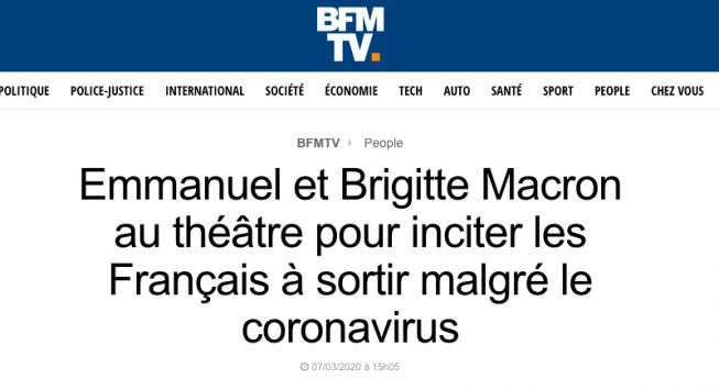 """du 7 Mars…La """"discipline"""" ? Quand Macron allait au théâtre pour inciter à sortir… malgré le coronavirus ….La population se fait rabrouer et infantiliser depuis plusieurs jours par le Premier ministre, le Président, la Première dame. On leur fait comprendre qu'ils n'auraient pas su saisir l'importance de la pandémie, qu'ils sous estimeraient la gravité de la situation. Pourtant de discours ministériels en exemple présidentiel, c'est bien par en haut que la crise a été… minimisée. Ils ont plus que manqué de discipline !"""