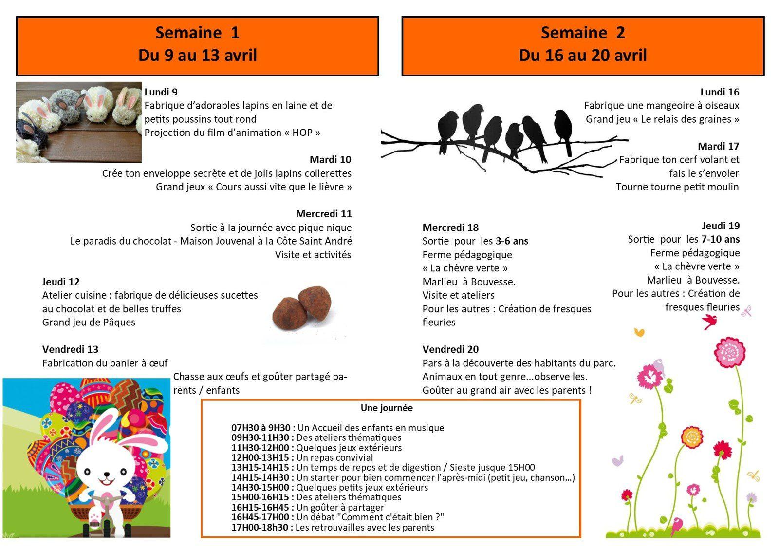 VACANCES DE PRINTEMPS - LES INSCRIPTIONS SONT OUVERTES