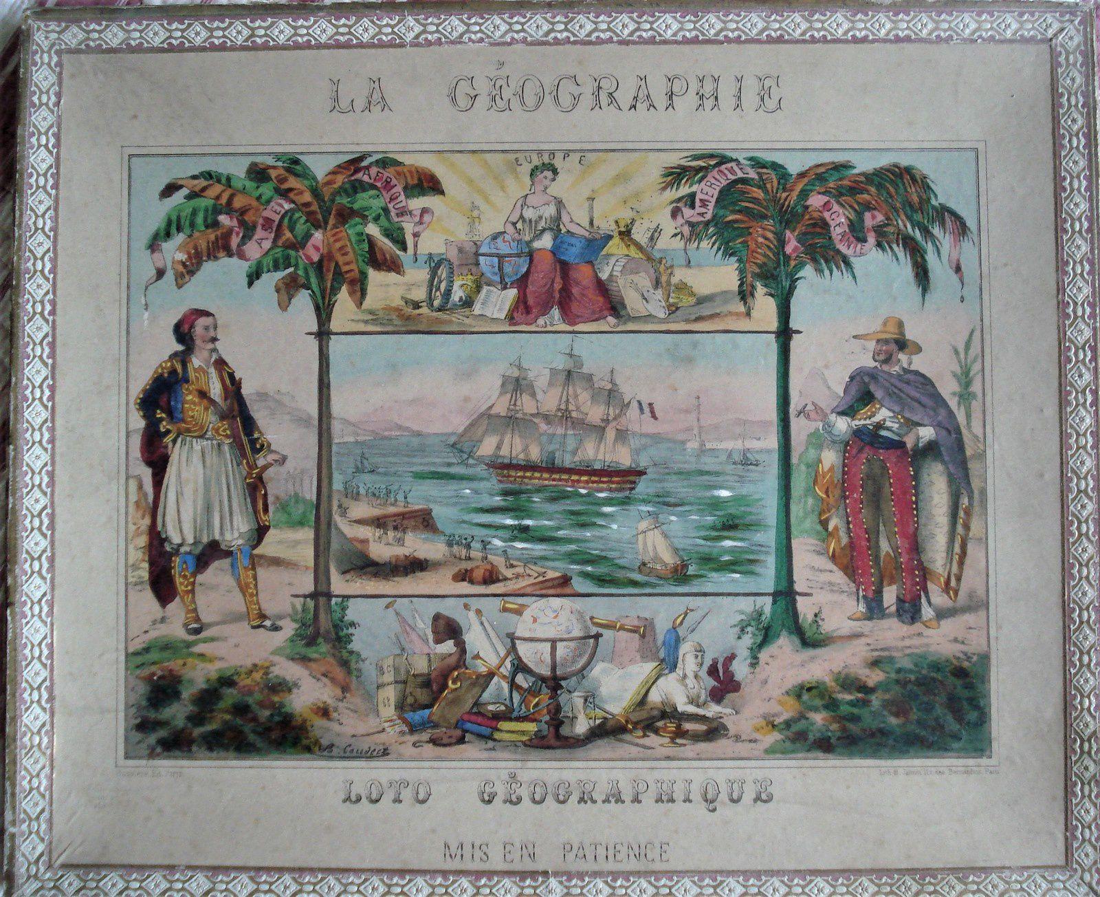 La géographie, loto mis en patience par Bussiere ( 1880)