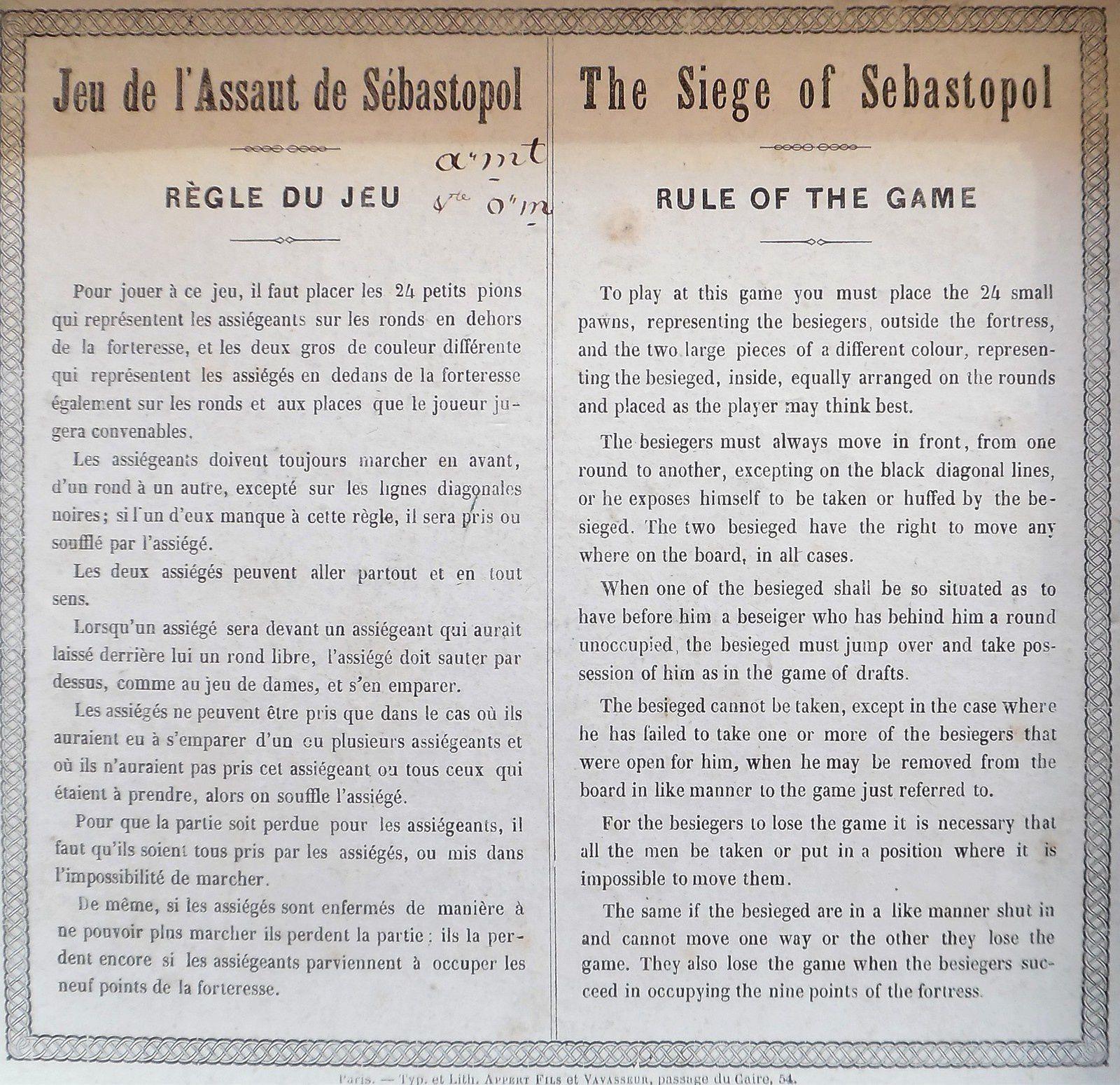 règle du jeu d'assaut donnée par Rousseau en français et en anglais