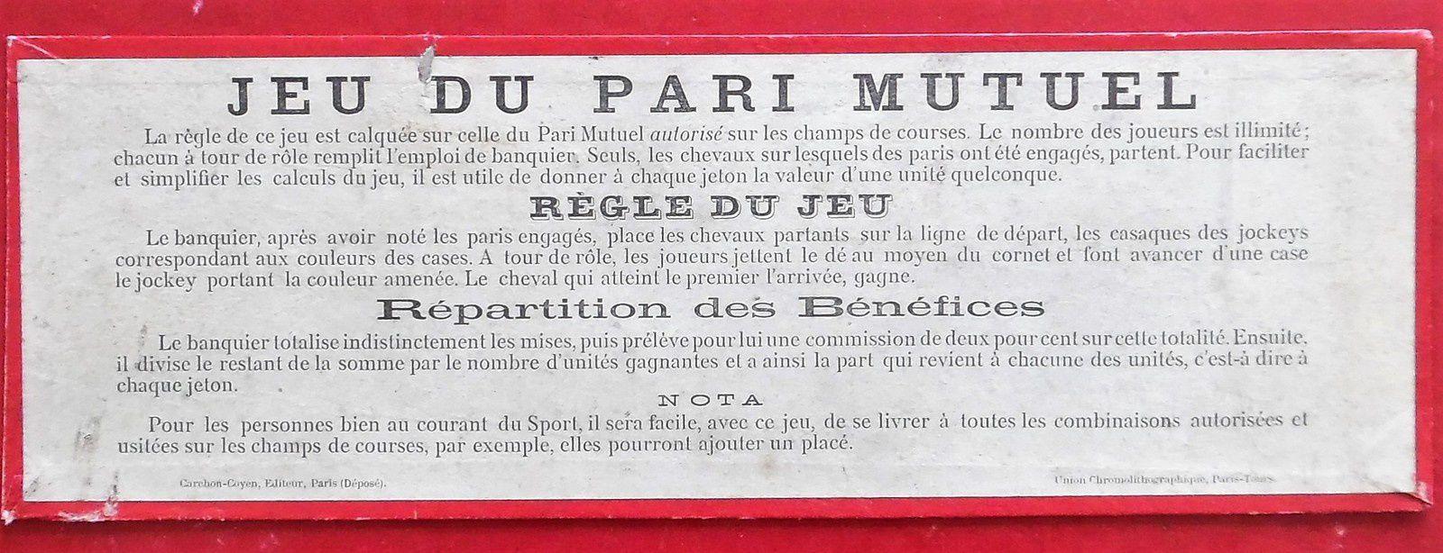 jeu du pari mutuel de Carchon-Coyen vers 1885
