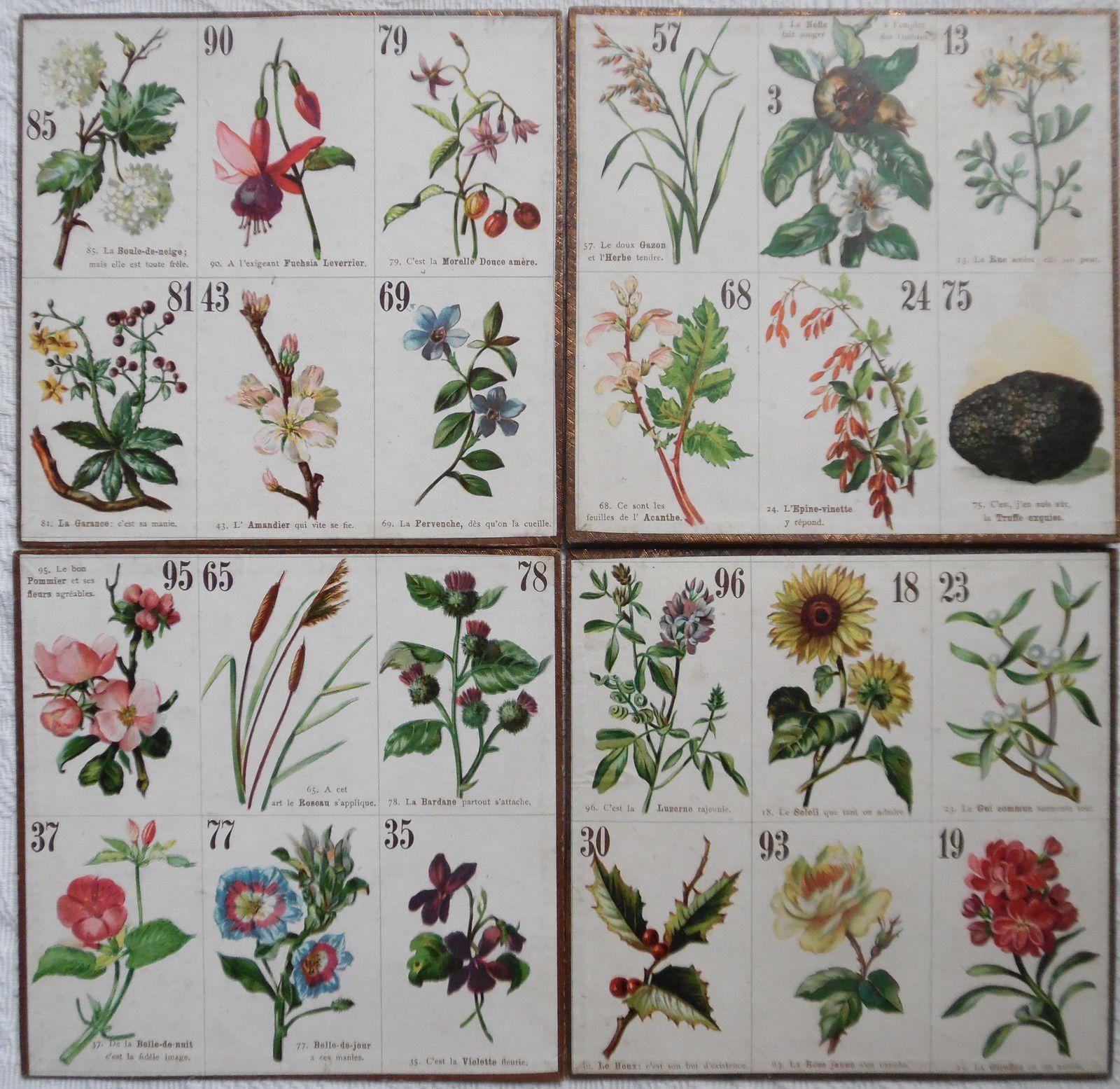 quatre des seize cartons du jeu de loto, 2 ternes par carton