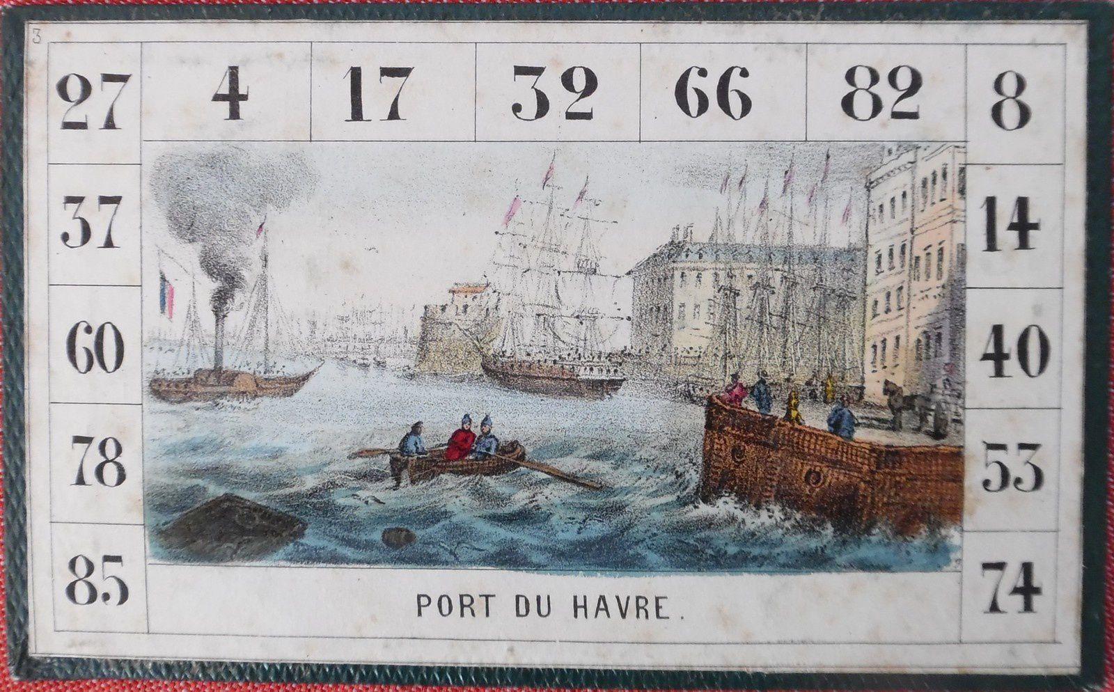 loto géographique de Rousseau, port du Havre et la Tamise à Londres