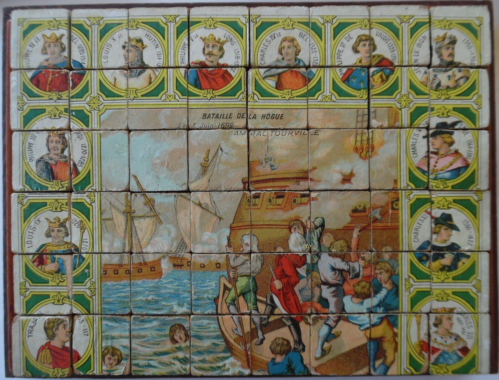 bataille de la Hogue, scène historique en 3 versions : cubes, loto,patience par AW&GL