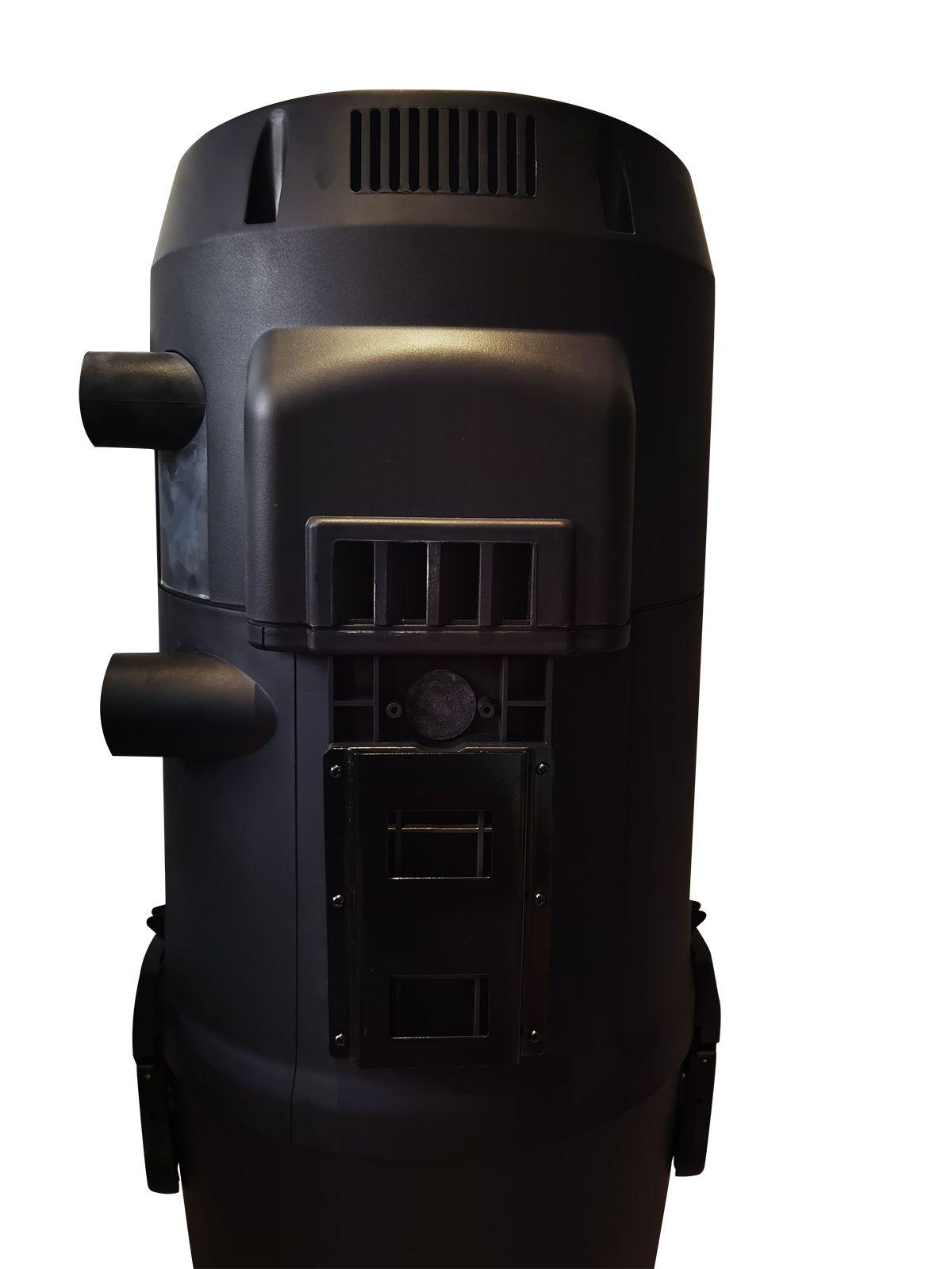 Support / Filtre à charbons moteur et silencieux intégrés à la centrale.