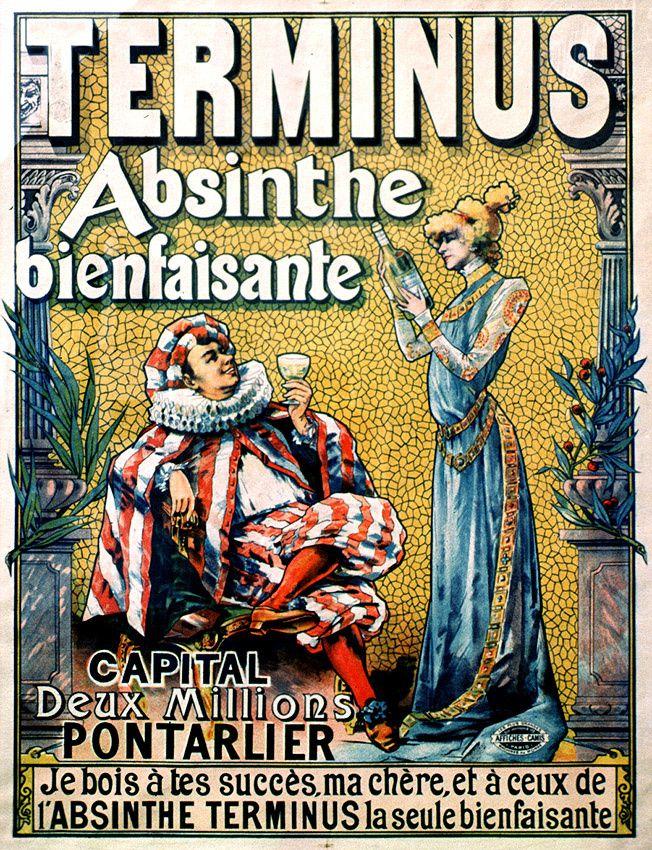 Sarah Bernhardt que l'on retrouve en compagnie de Coquelin aîné sur l'affiche de l'Absinthe Terminus. Coll. Delahaye.
