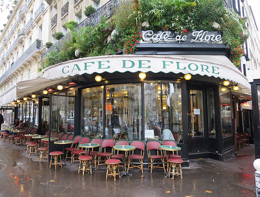 Le Café de Flore, 172 Boulevard Saint-Germaun, 75006 Paris. Métro Saint-Germain-des-Prés. Ph. Delahaye.